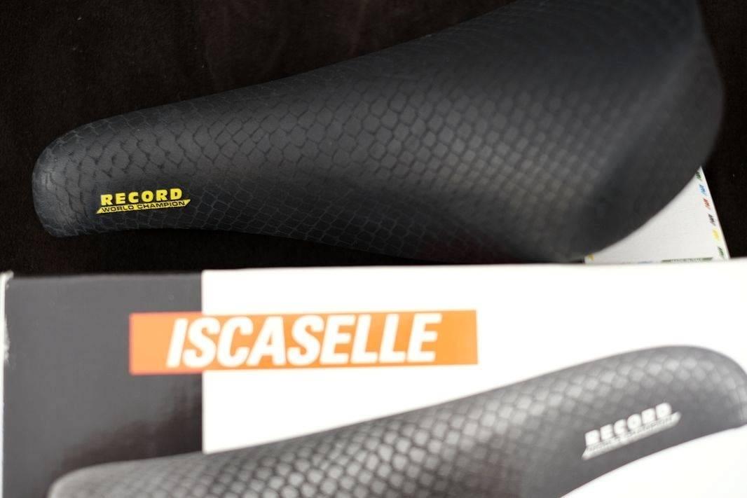 """Selle de vélo de route NOS vintage Iscaselle """"Record"""" World Champion en noir"""