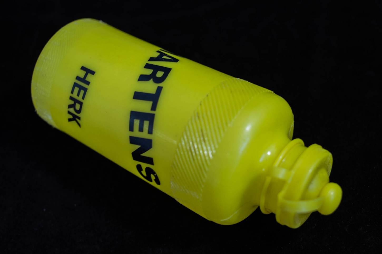 Vintage Trinkflasche Fietsen Paul Martens Herk ALE 70/80er Jahre 500 ml gelb