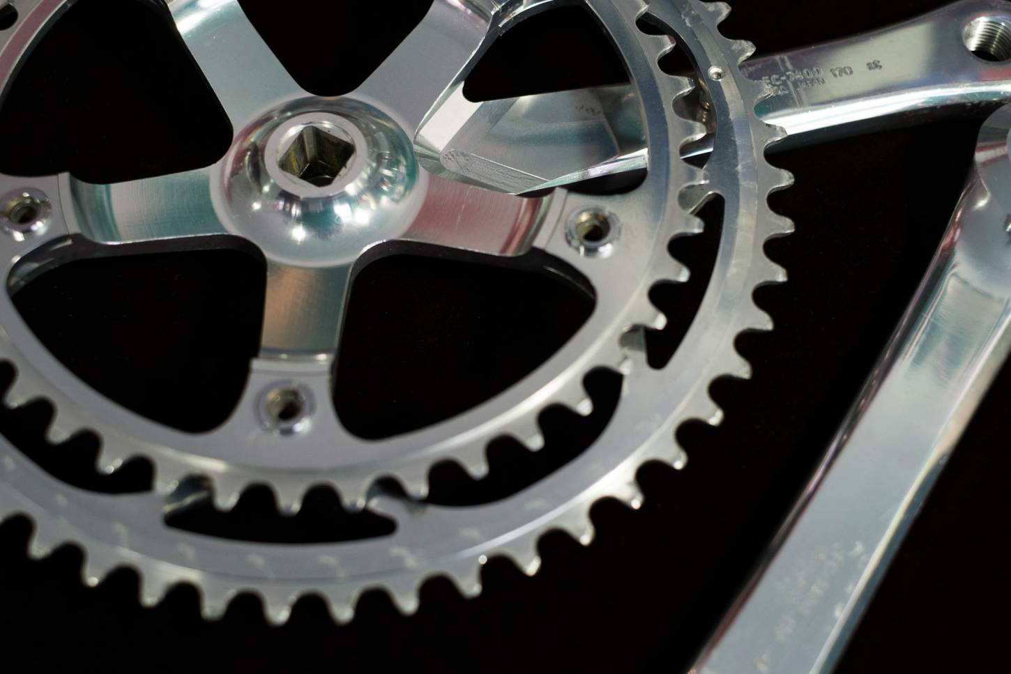 Shimano Dura Ace crank set FC-7400 170 mm 2 compartment with 52/42 T chainrings 130 LK Vintage road bike