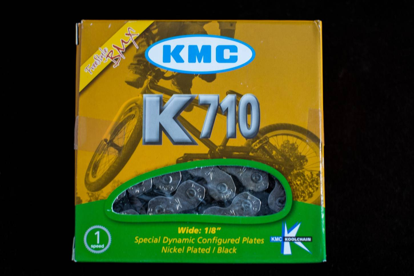 KMC K710 track fixie chain - 1 speed - 1/2 x 1/8 silver or black- 100 links