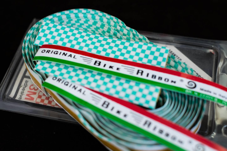 NOS Vintage Ambrosio Lenkerband kariert Bike Ribbon Square Bar Tape in rot + blau + celeste