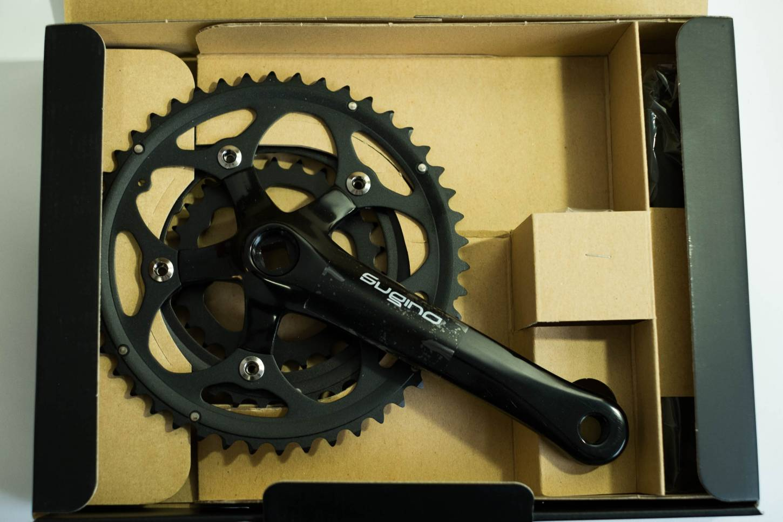 Sugino XD 600 T, Kurbel Set, 46/36/26T, 170 mm, Crankset, black, MTB, Road Bike, schwarz