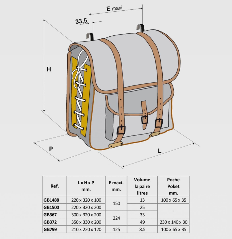 Gilles Berthoud 367 sacoches porte-bagages sacoches noires Sacs de rangement arrière
