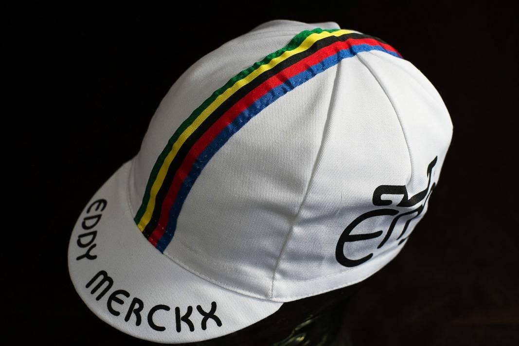 """Eddy Merckx Kappe """"Cycling Cap"""" Schirmmütze Radlermütze mit Weltmeisterstreifen"""