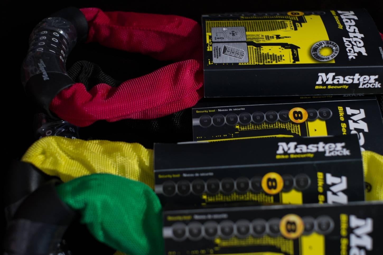 Masterlock Zahlenschloss in 5 Farben 90 cm Länge rot, schwarz, grün, gelb, blau