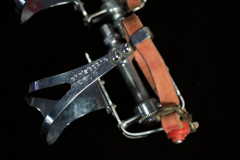 """Pedali Campagnolo Gran Sport 9/16"""" con gancio per pedale Christophe e cinghie"""
