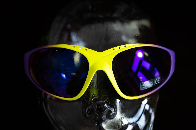 NOS Studio Brisant Vintage Sonnenbrille Cycling Sunglasses Gelb Violett