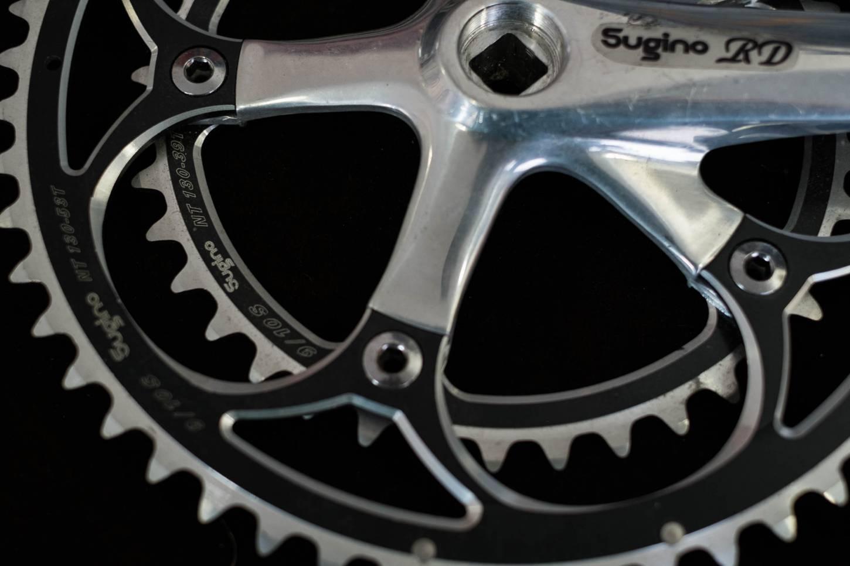 Sugino, RD, Kurbel ,Crankset, 2-Fach, 175 mm, 130 LK, mit Kettenblätter, 53.39 T, silber-schwarz
