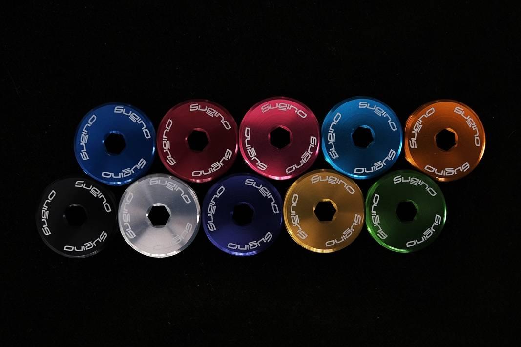 Sugino, Dust Caps, Staubkappen, Kurbelschrauben, Set, Aluminium, rot, silber, schwarz, gold, türkis, hellblau, orange, grün, blau,