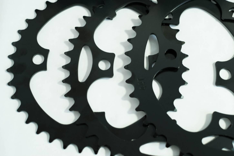 Stahl Kettenblätter LK 104 schwarz in 38 Z + 42 Z + 44 Z + 46 Z Steel Chainrings