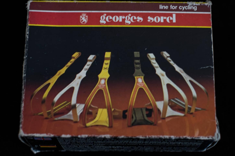 NOS Vintage George Sorel Pedalhaken Toeclips Classic 80's Size M in schwarz