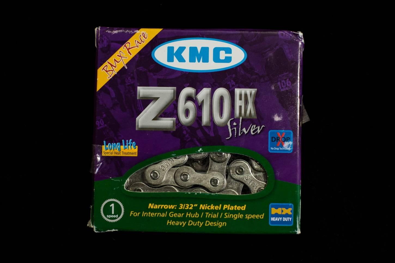 """KMC Z610 HX BMX track fixie chain chain 1/2"""" x 3/32"""" 112 links 1-speed in silver"""