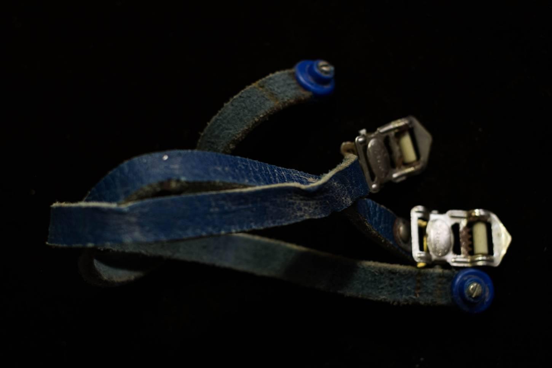 Bracelet de pédale Alfredo Binda en cuir bleu Original Vintage avec embouts REG