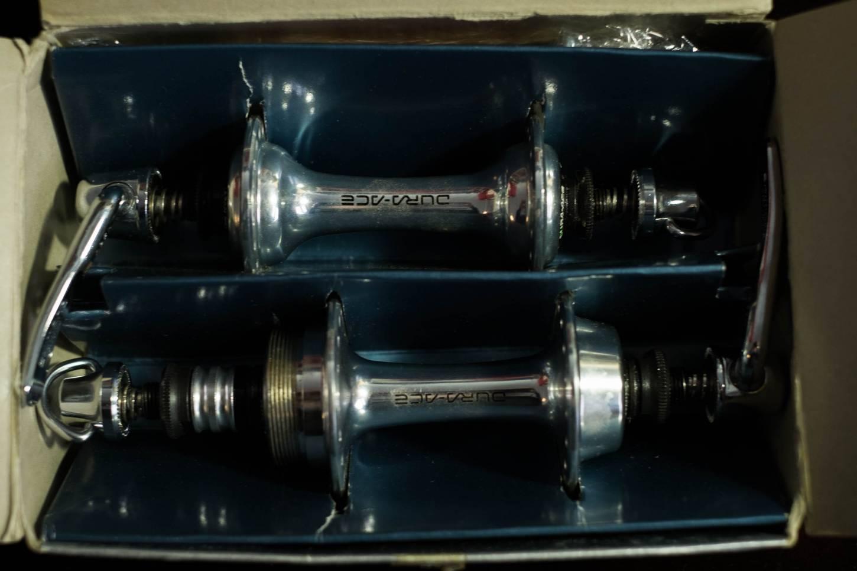 NOS Shimano Dura Ace Naben Set Hub Set 36 Loch HB-7400 Aluminium 6 Fach Vintage Rennrad